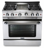 """GSCR364WN Capital 36"""" Precision Gas Pro Style Convection Range 4 Burners & Wok - Natural Gas - Stainless Steel"""
