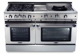 """GSCR604GWN Capital 60"""" Precision Pro Style Gas Convection Range 4 Burners, Griddle & Wok - Natural Gas - Stainless Steel"""