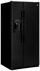 "GSE23GGKBB GE 33"" 23.2 cu. ft. Total Capacity Side-by-Side Refrigerator with Humidity-Controlled Produce Drawers and Adjustable Spill Proof Shelves - Black"