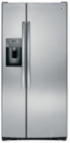 """GSE23GSKSS GE 33"""" 23.2 cu. ft. Total Capacity Side-by-Side Refrigerator with Humidity-Controlled Produce Drawers and Adjustable Spill Proof Shelves - Stainless Steel"""
