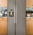 GSE25HMHES GE Energy Star 25.4 Cu. Ft. Side-By-Side Refrigerator with Hidden Hinges - Slate