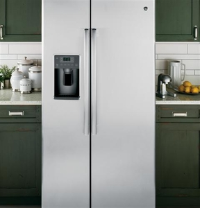 GSE25HSHSS GE Energy Star 25.4 Cu. Ft. Side-By-Side Refrigerator with Hidden Hinges - Stainless Steel