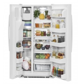 """GSS23GGKWW 33"""" GE  23.2 Cu. Ft. Side-By-Side Refrigerator with Ice Maker and Adjustable Gallon Door Bins - White"""