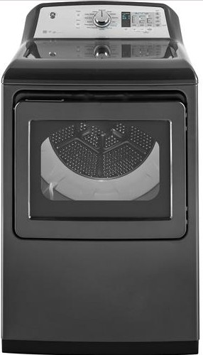 """GTD75ECPLDG GE 27"""" Front-Load 7.4 cu. ft. Capacity Electric Dryer with Steam Select and WiFi Connect - Gray"""