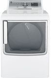 GTD86ESSJWS GE 7.8 Cu. Ft. Capacity Electric Dryer with Stainless Steel Drum and Steam - White