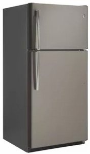 "GTS21FMKES GE 32"" Top-Freezer Refrigerator with Gallon Door Storage and Dairy Bin - Slate"