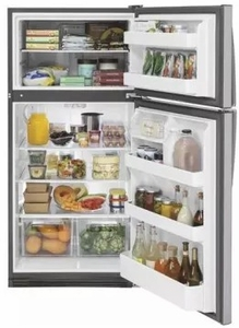 "GTS21FSKSS GE 32"" Top-Freezer Refrigerator with Gallon Door Storage and Dairy Bin - Stainless Steel"