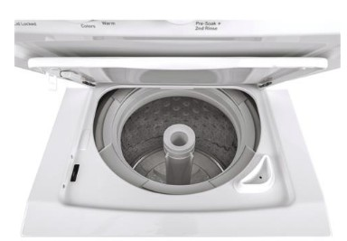 "GUD24GSSMWW 24"" GE 2.3 DOE cu. ft. Washer and 4.4 cu ft. Gas Dryer with Rotary Electronic Controls and 11 Wash Cycles - White"