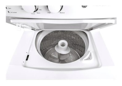 """GUD27GSSMWW GE 27"""" Laundry Center with Washer and 5.9 cu ft. Gas Dryer with Rotary Electronic Controls and 11 Wash Cycles - White"""