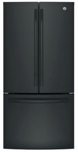 "GWE19JGLBB GE 33"" 18.6 Cu. Ft. Counter-Depth French Door Refrigerator with Turbo Cool Setting and Quick Space Shelf - Black"