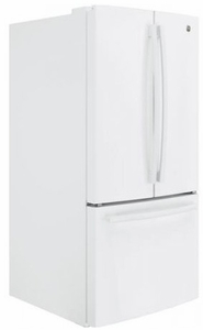 "GWE19JGLWW GE 33"" 18.6 Cu. Ft. Counter-Depth French Door Refrigerator with Turbo Cool Setting and Quick Space Shelf - White"