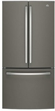 "GWE19JMLES GE 33"" 18.6 Cu. Ft. Counter-Depth French Door Refrigerator with Turbo Cool Setting and Quick Space Shelf - Slate"