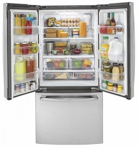 "GWE19JSLSS GE 33"" 18.6 Cu. Ft. Counter-Depth French Door Refrigerator with Turbo Cool Setting and Quick Space Shelf - Stainless Steel"