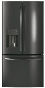 """GYE18JBLTS GE 33"""" 17.5 Cu. Ft. Counter Depth French Door Refrigerator with Turbo Cool Setting and Quick Space Shelf - Black Stainless Steel"""