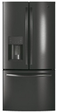 "GYE18JBLTS GE 33"" Profile Series 17.5 Cu. Ft. Counter-Depth French Door Refrigerator with Turbo Cool Setting and Quick Space Shelf - Black Stainless Steel"