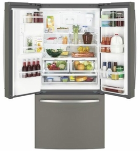 "GYE18JMLES GE 33"" 17.5 Cu. Ft. Counter Depth French Door Refrigerator with Turbo Cool Setting and Quick Space Shelf - Slate"