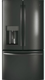 "GYE22HBLTS GE 36"" Counter Depth 22.2 Cu. Ft. French Door Refrigerator with TwinChill Evaporators - Black Stainless Steel"