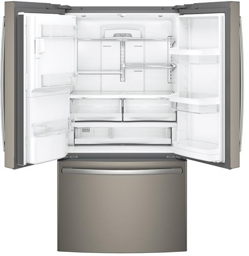 "GYE22HMKES GE 36"" Counter Depth 22.2 Cu. Ft. French Door Refrigerator with TwinChill Evaporators - Slate"