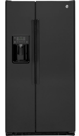 GZS22DGJBB GE 21.9 Cu. Ft. Counter Depth Side By Side Refrigerator   Black