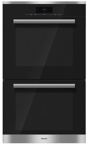 "H68802BP2SS Miele 30"" PureLine Series Double Convection Oven with M Touch Controls and MasterChef Plus - Black Glass/Stainless Steel"