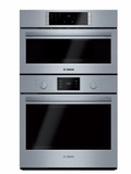 """HBL87M52UC 30"""" Bosch 800 Series Self-Cleaning Microwave Wall Oven Combo with European Convection and Incandescent Lighting - Stainless Steel"""