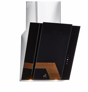 "HCH2400ACB Haier 24"" Slanted Chimney Vent with 450 CFM and Electronic Touch Controls - Black Glass"