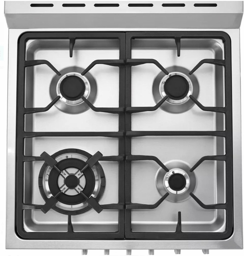 "HCR2250ADS Haier 24"" 2.0 Cubic Feet Dual Fuel Freestanding Range with 4 Sealed Burners and True European Convection Range - Stainless Steel"