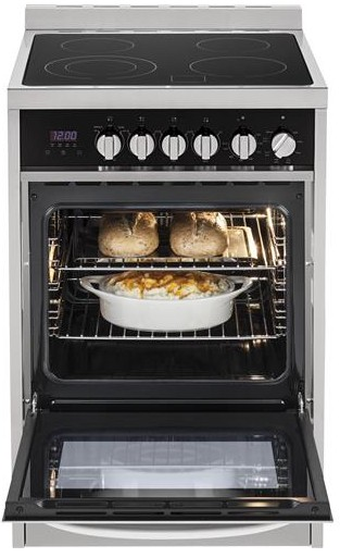 "HCR2250AES Haier 24"" 2.0 Cubic Feet Electric Freestanding Range with 4 Radiant Element Ceramic Glass Cooktop and True European Convection Range - Stainless Steel"