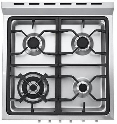 "HCR2250AGS Haier 24"" 2.0 Cubic Feet Gas Freestanding Range with 4 Sealed Burners and True European Convection Range - Stainless Steel"