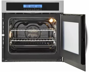 "HCW225RAES Haier 24"" Single 2.0 Cubic Feet Right Swing True European Convection Oven with Ten Cooking Modes and LCD Display with Sensor Touch - Stainless Steel"