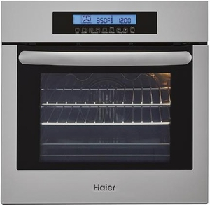 "HCW2360AES Haier 24"" Single 2.0 Cubic Feet Electric True European Convection Wall Oven with Ten Cooking Modes and LCD Display with Sensor Touch - Stainless Steel"