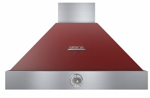 """HD36PACRC Superiore 36"""" DECO Series Wallmounted Hood with Analog Control and Baffe Filters - Red with Chrome Accent"""