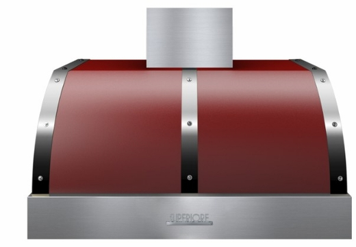 "HD361PBTRC Superiore 36"" DECO Series Wallmount or Undermount Hood with Electric Button Controls and  Baffle Filters - Red with Chrome Accent"