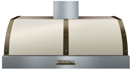 "HD481BTCB Superiore 48"" DECO Wall Mount or Undermount Hood with Electric Button Control and Baffle Filters - Cream with Bronze Accent"
