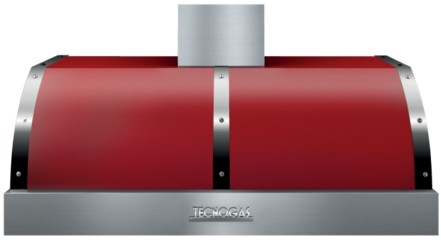 "HD481BTRC Superiore 48"" DECO Wall Mount or Undermount Hood with Electric Button Control and Baffle Filters - Red with Chrome Accent"