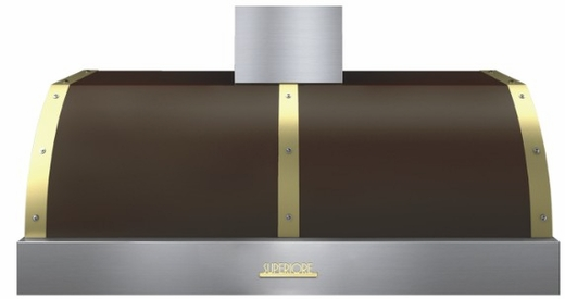 "HD48PBTMG Superiore 48"" DECO Series Wallmount or Undermount Hood with 900 CFM and Baffle Filters - Brown with Gold Accent"
