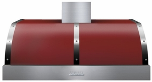 """HD48PBTRC Superiore 48"""" DECO Series Wallmount or Undermount Hood with 900 CFM and Baffle Filters - Red with Chrome Accent"""