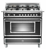 "HER366GASNE01 Bertazzoni Heritage 36"" Range with 6 Brass Burners and Gas Oven - Black"