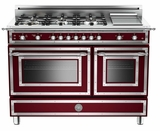 "HER486GGASVI Bertazzoni Heritage 48"" Range with 6 Brass Burners + Griddle and Gas Oven - Wine"