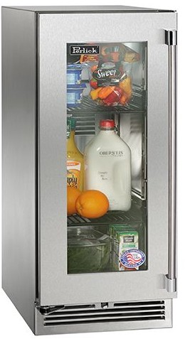"HP15RO34R Perlick 15"" Signature Series Outdoor Stainless Refrigerator with Integrated Wood Glass Overlay Door - Right Hinge"