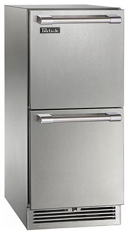"HP15RO35 Perlick 15"" Signature Series Stainless Outdoor Refrigerator with Stainless Steel Drawers"