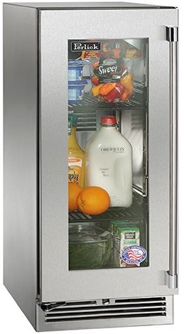 """HP15RS34R Perlick 15"""" Signature Series Stainless Refrigerator with Integrated Wood Glass Overlay Door - Right Hinge"""