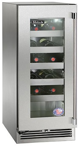"""HP15WS34L Perlick 15"""" Signature Series Stainless Wine Reserve with Integrated Wood Overlay Glass Door - Left Hinge"""