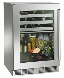 """HP24CS2R Perlick 24"""" Signature Series Dual-Zone Refrigerator/Wine Reserve with Integrated Wood Overlay Solid Door - Right Hinge"""