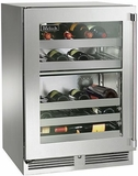 """HP24DO33R Perlick 24"""" Signature Series Outdoor Dual Zone Wine Reserve with Stainless Glass Door - Right Hinge"""