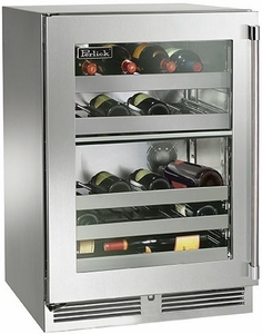"""HP24DO34R Perlick 24"""" Signature Series Outdoor Dual Zone Wine Reserve with Integrated Wood Glass Overlay Door - Right Hinge"""