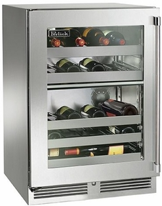 "HP24DS33R Perlick 24"" Signature Series Dual Zone Wine Reserve with Stainless Glass Door - Right Hinge"