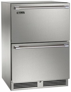 """HP24FO35 Perlick 24"""" Signature Series Outdoor Stainless Freezer with Stainless Steel Drawers"""