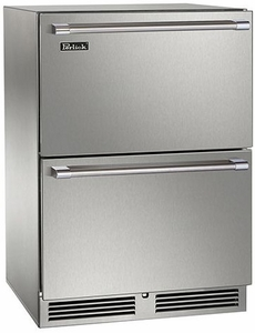 """HP24RO36 Perlick 24"""" Signature Series Outdoor Refrigerator with Integrated Wood Overlay Drawers"""
