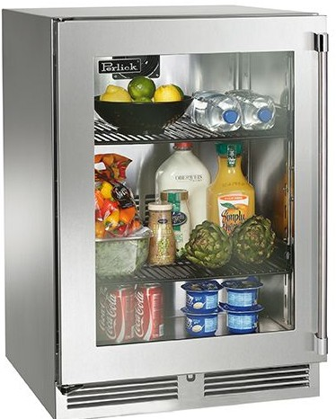 "HP24RS33R Perlick 24"" Signature Series Refrigerator with Stainless Glass Door - Right Hinge"